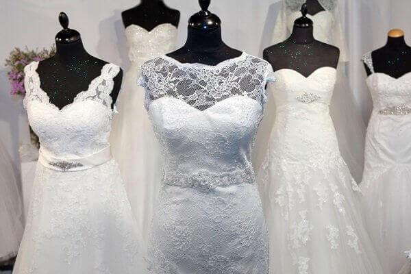 wedding dresses on rack
